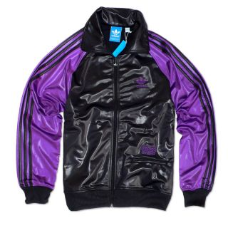 "Adidas Originals ""Chile 62 Colblo"" Track Top Jacket Black Purple Tracksuit Top"
