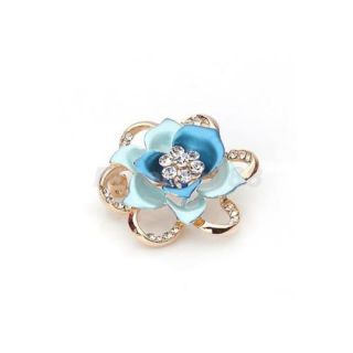 Gorgeous Rose Flower w Rhinestone Brooch Pin Clasp Gold Tone 4 Color Choice