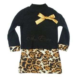 Girl Kids Black Leopard Long Sleeve Bow Party Pageant Dress Costume Sz 2 6 Years