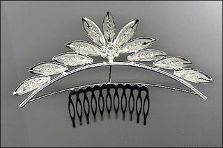 Costumes Lotus Flower Silver and Rhinestone Hair Comb