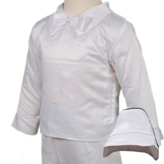 D259 Baby Boy 4pc White Christening Baptism Vest Suit Bonnet 0 18months