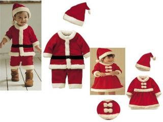 Hot Baby Boys Girls Christms Xmas Santas Party Suit Costume Dress Outfits Sets