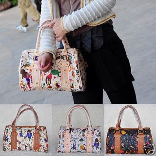 Women Lady Girls Cartoon Circus Print PU Leather Cat Bag Handbag Totes Shoppers
