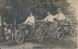 1911 Indian 500cc Belt Drive Three Bikes on Vintage Real Photo Postcard Unused