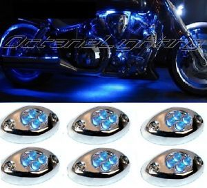 6pc Blue LED Chrome Modules Motorcycle Chopper Frame Neon Glow Lights Pods Kit