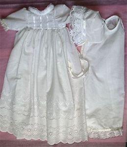 Christening Gown Dress Bonnet Slip Doll Clothes 4 Reborn Baby Girl Dolls OOAK