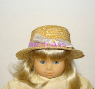 """Straw Daisy Hat Doll Clothes Made for 15"""" American Girl Bitty Baby Twin Dolls"""