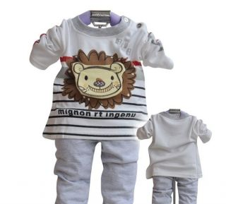 T 133 Unisex Warm Clothes Babysuit Cute Cartoon Lion Long Sleeve Pants Sets US