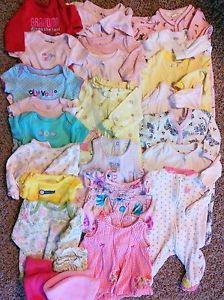 25pc Big Lot of Baby Girl Clothes Size Newborn to 3 Months Gap Carters