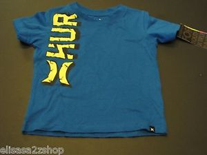 Hurley Baby Boys 12 M Months T Shirt Surf Skate Code Blue Front Back Logo New