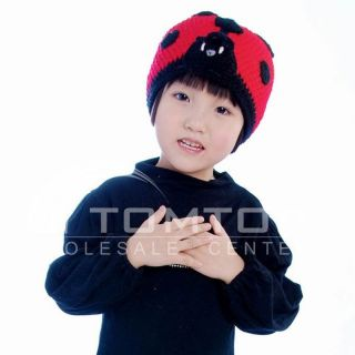 Cartoon Ladybug Handmade Wool Knit Children Hat H1559