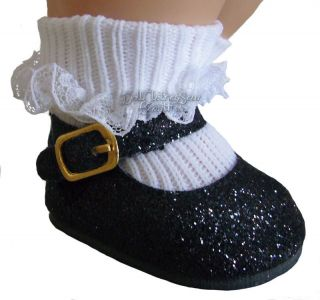 """Black Sparkle Glitter Shoes Made for 15"""" Bitty Baby Twins Doll Clothes"""