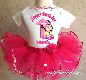 Baby Minnie Mouse Birthday Girl 1st 2nd Shirt Pink Tutu Set Outfit 6 12 18 24