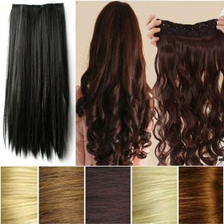 Sexy Women Long Straight Curly Clip in Synthetic Hair Extension for Human