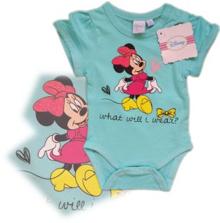 New Disney Minnie Mouse Babygrow Bodysuit Baby Girl 18 24 Months 92cm Aqua