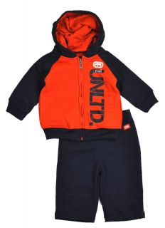Ecko Unltd Infant Boys Navy Orange 2pc sweat Suit Set Size 18M $44