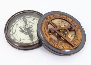 Maritime Antique Polished Brass Sundial Compass Nautical Collectible with Poem