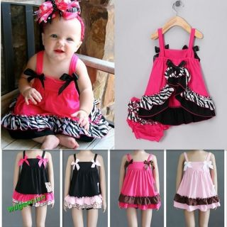 Lovely Kids Baby Girls Ruffle Tops Pants Set Bloomers Outfit Dress Nappy Cover