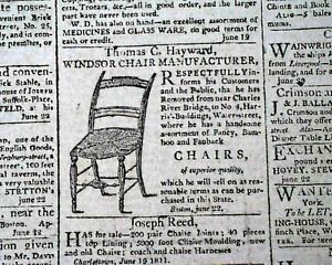 19th Century Windsor Chair Advertisement Thomas Cotton Hayward in 1811 Newspaper