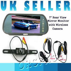 "Car Parking Reversing 7 IR Wireless Camera 7"" LCD Color Mirror Monitor Kit"