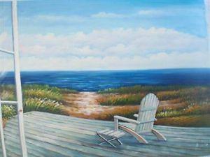 24 x 36 Oil Painting Art Adirondack Chair Beach Open Door Window Porch Dock Sand