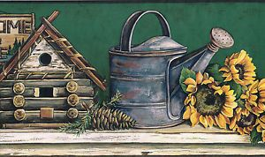 Country Sunflower Bird House Watering Can Chair Green Back Wallpaper Border Wall