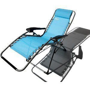 New Strathwood Anti Gravity Lounge Recliner Chair Blue
