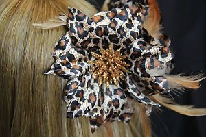 Large Flower Fabric Feather Glitter Leopard Print Hair Brown Claw Clip Clamp