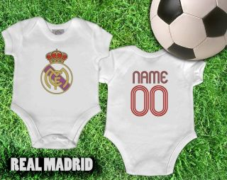 UEFA Real Madrid One Piece Jersey Romper Baby Loves Madrid Add Babys Name