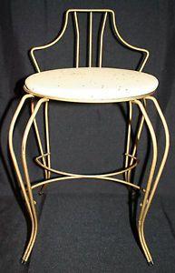 Nice Joal Flex USA Mid Century Art Deco Brass Vanity Dressing Table Chair