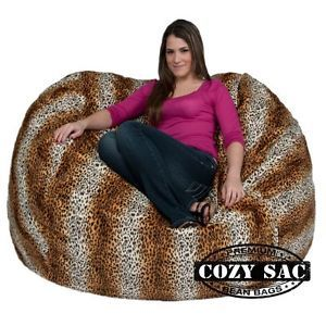Bean Bag Chair Large Micro Suede Love Seat 5' Leopard Animal Print by Cozy Sac
