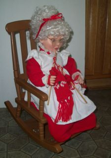 Vintage Santas Best Animated Mrs Santa Claus Knitting in Rocking Chair