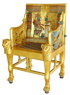 "The Golden Throne of Tutankhamen King Tut Egyptian Chair 42"" Tall"