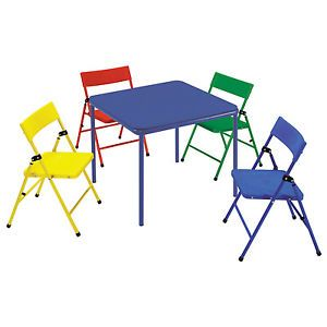 Cosco Kid's 5 Piece Colored Folding Chair and Table Set