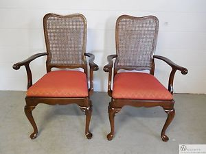 Pair Ethan Allen Georgian Court 11 6200 Cane Back Arm Chairs Vintage 225 Finish