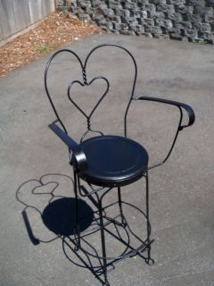 ... Antique Twisted Wrought Iron Ice Cream Parlor Chair RARE Armrest ...