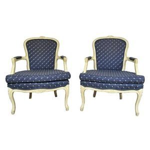 Vtg Pair Carved Distress White Painted French Louis XV Style Lounge Arm Chairs