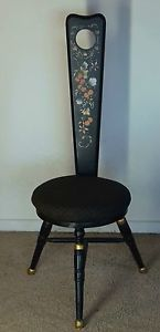Vintage Antique Spinning Wheel Stool Wood Chair Painted Floral Detail