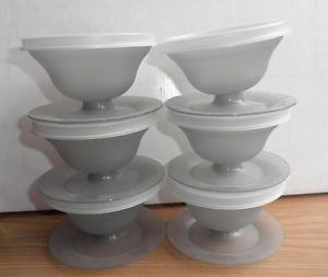 6 Vintage Tupperware Pudding Jello Mold Pedestal Cups Dishes w Lids Smokey Gray