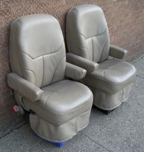 2003 Chevrolet American Van Tan Leather Front Seats Captain Chairs Chevy GMC GM