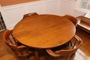 Ethan Allen Maple Wood Antique Dining Room Table With Chairs Table Leafs  With Ethan Allen Farmhouse Table And Chairs