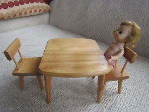 Vintage Strombecker Doll Table and 2 Chairs for Ginny Betsy McCall Barbie