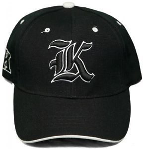 "New Old English Letter Hat ""K"" Adjustable Velcro Back 3D Embroidered Cap Black"
