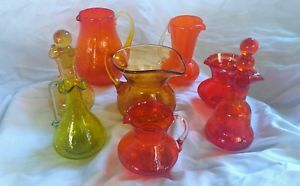 Lot of 8 Vintage Crackle Glass Pitchers Decanters Multi Colors Blenko Rainbow