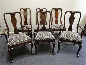 6 Ethan Allen Cherry Queen Ann Dining Room Chairs