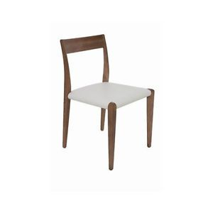 Nuevo Chic Modern Ameri Solid Birch White Leather Dining Chair Contemporary
