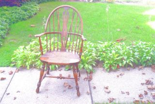 Antique Karpen Furniture Company Windsor Arm Chair with Rush Seat Original