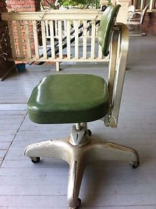Vintage Industrial Age Green Cole Steel Swivel Mid Century Desk Chair