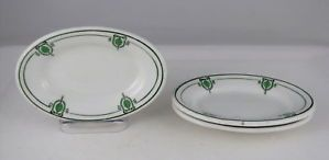 3 Shenango China Dinnerware Oval Fruits w Green Decor