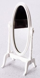 Dollhouse Miniature White Cheval Mirror Bedroom Furniture New